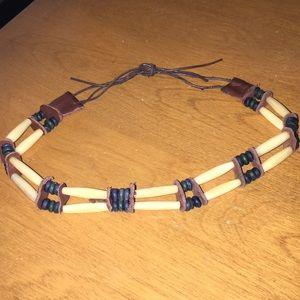 Jewelry - Vintage native American style bone leather choker